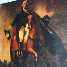 George Washington Riding on Brown Horse-Colorful Illustration