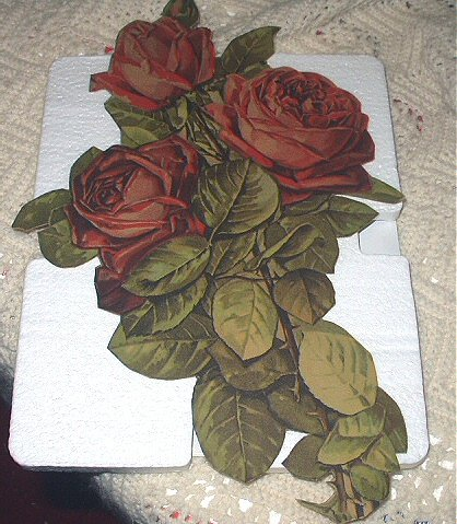 Lovely Very Large Antique DieCut-Three Red Roses, lots of green leaves