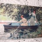 Antique Print-Two Victorian Women Rowing Boat-Colorful,Artist: FRANCIS G. JONES