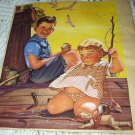 Sweet Little Children Fishing On Dock-1944 STUART Lithograph print