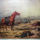 On The Morrow Of Battle-Signed Antique print-Horses, Fallen Soldiers, War Scene