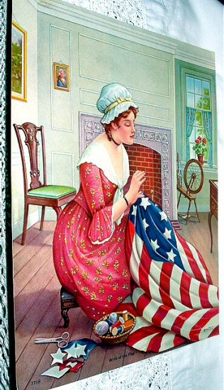 Birth Of The Flag Betsy Ross Creating American Flag Lithograph
