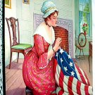 Birth Of The Flag-Betsy Ross Creating American Flag Lithograph