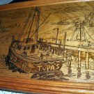 Tupas-Seascape Harbor Coastal Scene-Vintage Original Wood Burning Artwork