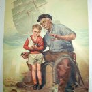 Old Man,Little Boy Telling Seaside Tales Vintage Lithograph Print-aRTIST: J.W.WILKINSON