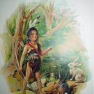 Hiawatha in the Forest-Antique Chromolithograph Print-Young Brave with rabbits