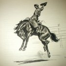 The Broncho-Man on Horse-Original Edwin Megargee Lithograph Print