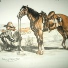 The Cow Pony-Cowboy and his Horse-Original Edwin Megargee Lithograph Print