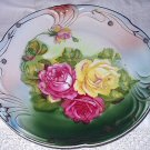 "Gorgeous Larger 10"" Antique Porcelain Bavaria Plate-Handpainted Cabbage Roses"