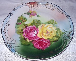 "Gorgeous Larger 10"" Antique Porcelain Bavaria Plate-Handpainted Cabbage Roses"