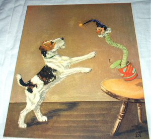Wire Haired Terrier Dog,Jack In The Box Toy-Diana Thorne-Vintage Lithograph-Backside Cairn Dogs