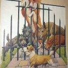 1927 Vtng Magazine Cover Artwork-Dogs Barking at Terrier-Robert Dickey