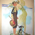 1933 Vntg Magazine Cover Art Illustration-Springtime-Fairy,Boy,Dog-Norman Rockwell