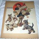 1926 Vntg Magazine Cover Artwork-Leyendecker-Little Boy,Turkey,Hungry Dogs