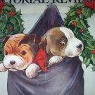 C.Twelvetrees-Vntg Magazine Cover Artwork-Two Sweet Boston Bulldogs In Stocking