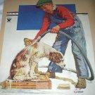 1934 J.F.Kernan-Vntg Magazine Cover Artwork-Boy Bathing Dog/Backside Norman Rockwell