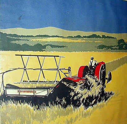 F.V. Carpenter-Farm Tractor Haying-Vintage Magazine Artwork