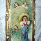 1905 Maud Humphrey-Rare Calendar-Little Boy Playing Hide-N-Seek Framed