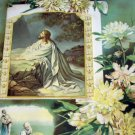Christ In Gethsemane,Religious Antique 1909 Chromolithograph Framed Gesso Print