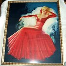 Devorss Lady In Red 1940s Vintage Large Poster Size Lithograph print,Vintage Wood Frame