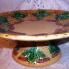 Majolica Pottery Footed Pedestal Compote,Tazza or Cake Stand,Grape Leaves,Berries