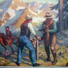 Wilwerding Artist Vintage Lithograph Horse,Cowboy Men Capturing Baby Cub,Mad Mother Bear