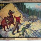 Wilwerding Artist Vintage Lithograph Print Horse,Man,Rifle Mother Bear