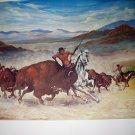 Buffalo Hunt Western Plains 1966 Lrg Vintage Lithograph Artist Joe H Williams Ft Worth Texas