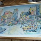 New York Broadway City Scene Very Large Silkscreen Print Limited Edition Pencil SIGNED