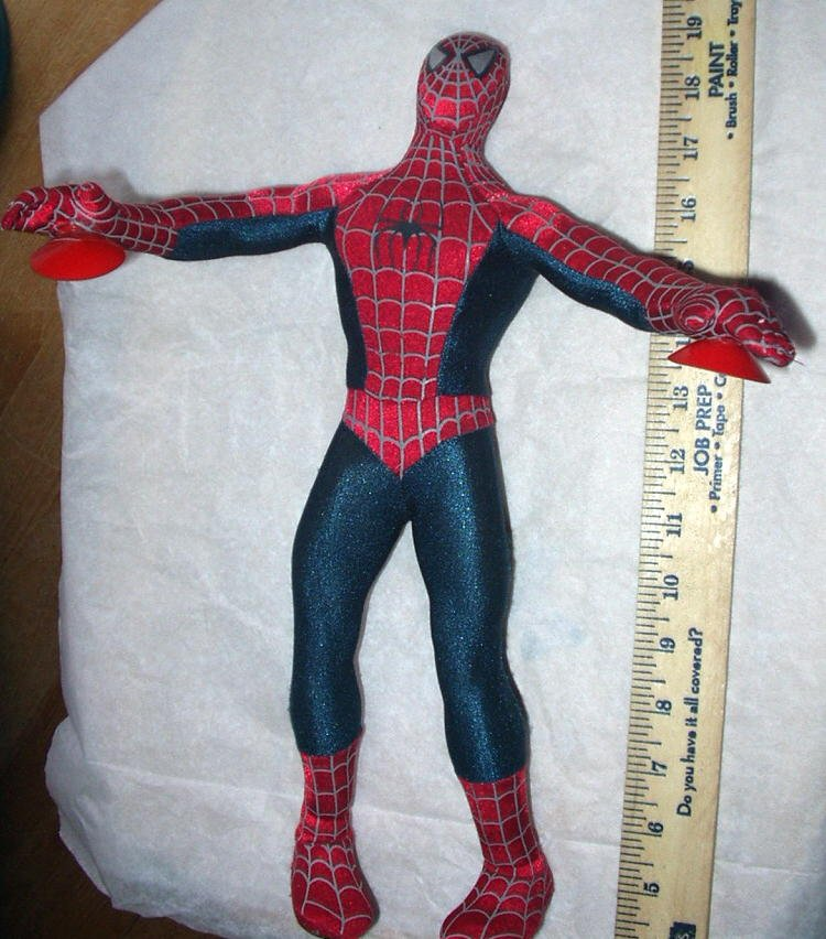 Spiderman 14 Inch Marvel The Movie Super Suction Cups Plush Type 2002 Collectible Gently Used