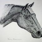 Horse Portrayl Facing Right Vintage Lithograph Print Ken Nessen a Western Artist
