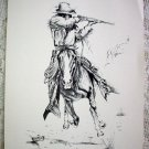 Horse Galloping Cowboy Aiming Rifle Vintage Lithograph Print Artist Ken Nessen Trouble At The Pass