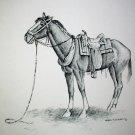 Horse Saddled Up Vintage Lithograph Print Artist Ken Nessen Ready to Frame