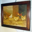 Hens Rooster Pecking Artist J D Sorvey 1893 Antique Chromolithograph Print Cherry Wood Frame
