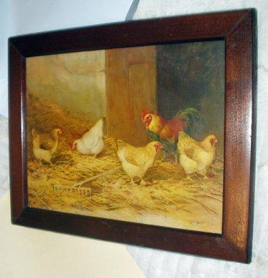 Hens Rooster Pecking Artist J D Sorvey 1893 Antique Chromolithograph
