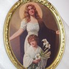 Praying Mother Angel Young Boy with Lily Flower Original 1910 Antique