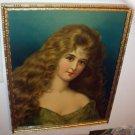 Victorian Lady Portrait Wavy Long Brown Hair Original Glass Antique Chromolithograph