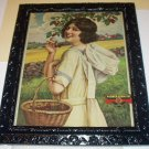 Girl Picking Cherries International Harvester Original 1920Antique Advertising Calendar Lithograph