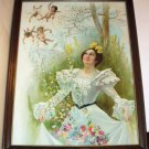 Victorian Lady Gathering Wildflowers Baby Cupid Angels Sprinkling Fairy Dust 1896 Antique Picture