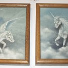 Pegasus and Unicorn Horses Peggy Harris Artist Pair of Original 1983 Oil Paintings