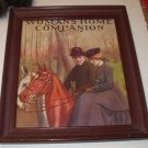 Couple Lovers Riding Horses Woman Riding Sidesaddle Framed Womans Home Companion Antique