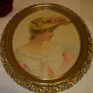 Victorian Lady with Fancy Flower Hat Portrait Pose Original 1900 Antique Print Ornate Oval Frame