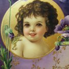 Little Girl Brundage Purple Poppy Flower Victorian 1/2 Yard Long Die Cut Embossed Original 1800s