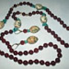 Cherry Red Catalin Beaded Necklace & Earrings Set Turquoise Stones Vintage Hand Stung Rare