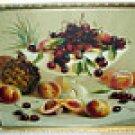 Red Cherries Still Life Fruit Bowl Peaches Pineapples Chromolithograph H Raymonn Frame Wavy Glass