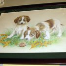 Puppy Dogs Curious Snail Artist Signed Original Hand Colored Pencil Art Drawing Print