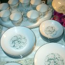 China Tableware Aida Rose 6 Table Setting Pattern 2112 Blue Green Swirl Designs Elegant