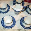 Floral Blue Cup Saucer Transferware Tea Set Demi 11 China Pc Granit Mark Made Hungary Tableware