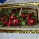 Paul de Longpre Basket of Roses 1896 Original Antique Chromolithograph Picture Wood Frame
