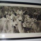Four Jersey Cows Thoroughbreds 1888 Original Antique Framed Photogravure Print Artist Thomas Allen